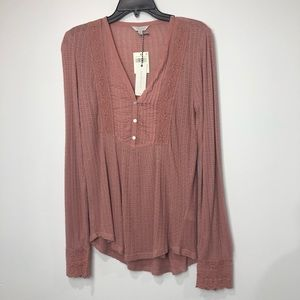 Lucky Brand Long Sleeve Lace Mix Top Size Medium